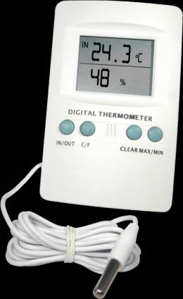 Digitální teplo-vlhkoměr min/max se sondou na kabelu 2m